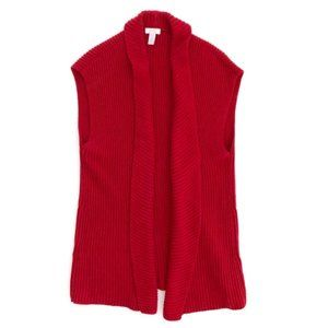 CHICO'S Women's Red Knit Duster Vest Sweater Med